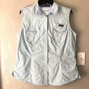 Columbia Button Down Sleeveless PFG Top Sz XL